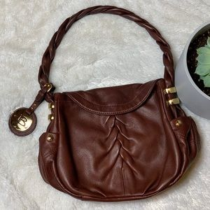 B. Makowski Brown Leather Twist Strap Purse